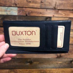 Navy Buxton Leather Checkbook Holder